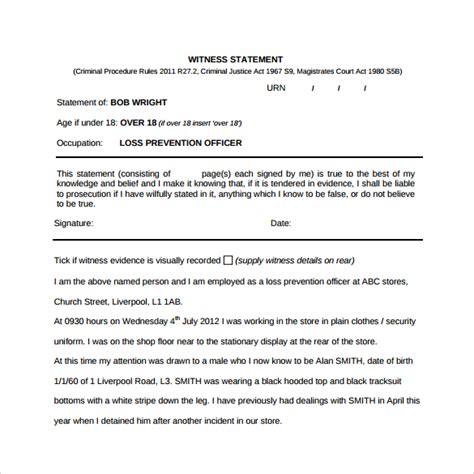 witness letter template 13 sle witness statement templates pdf word