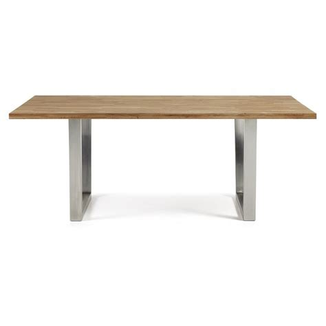 Dining Table Carter Stainless Steel And Oak 200cm By La Forma Stainless Steel Dining Room Table