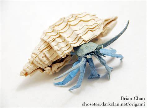 Crab Origami - hermit crab origami folded by brian chan from a square