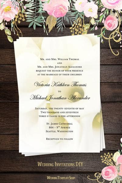 Products Wedding Template Shop Calla Wedding Invitation Templates