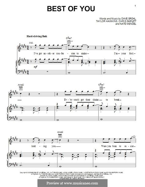 Best Of You Foo Fighters Chords The Best Of You Foo Fighters By C Shiflett D Grohl N