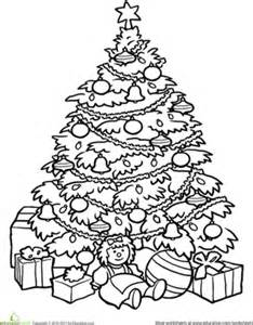 Second grade holiday worksheets christmas tree coloring page