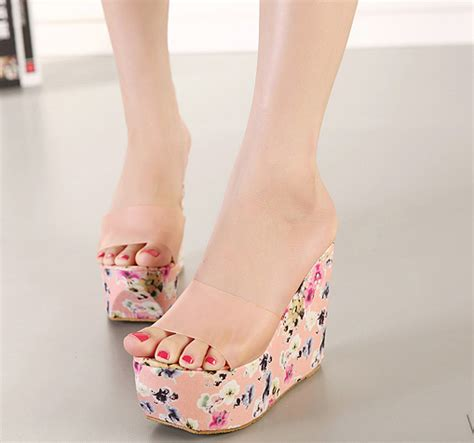 floral pattern high heels korea fashion wholesale price high heels color block