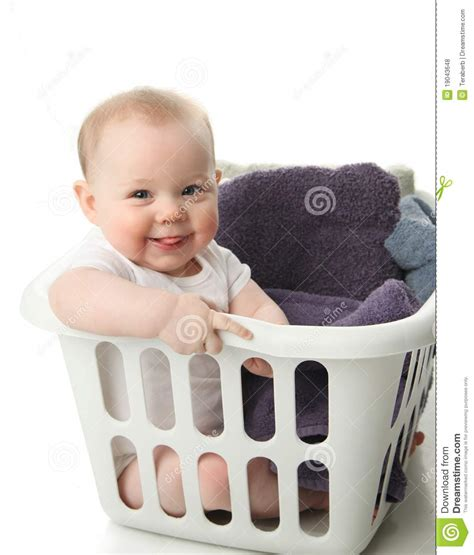 baby laundry baby in a laundry basket royalty free stock photos image