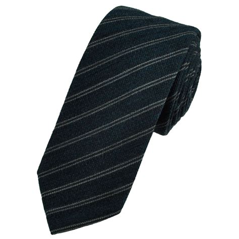 navy blue silver grey striped wool blend tie from