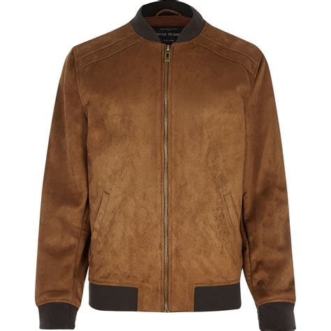 Suede Jacket lyst river island brown faux suede jacket in brown for