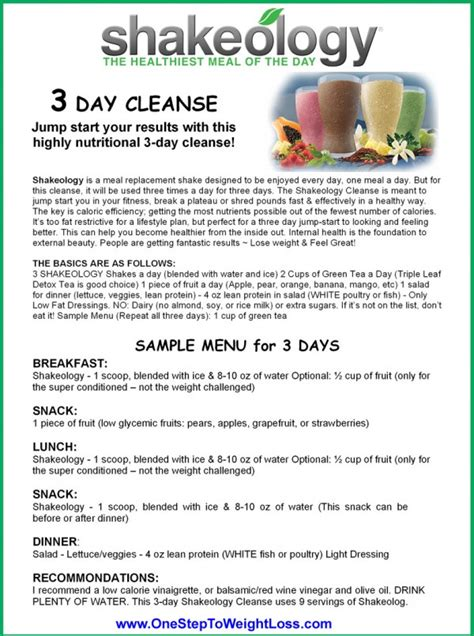 3 Day Detox Pdf by Shakeology 3 Day Cleanse Review