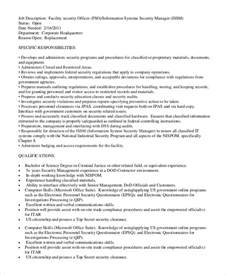 Security Officer Duties by Sle Security Officer Description 8 Exles In Pdf Word