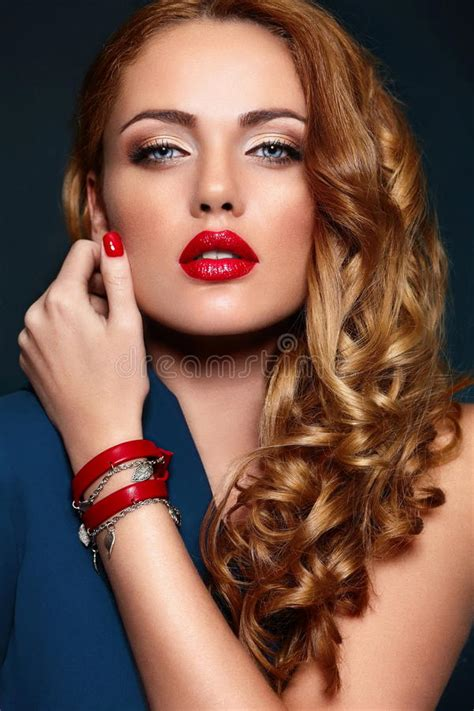 dark red lipsticks on pinterest fashion fair makeup fashion closeup stylish blond with red lips stock images