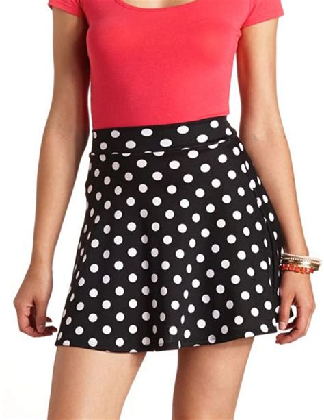 high waisted polka dot skater skirt russe