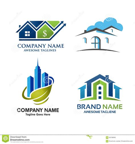 real house design real estate property logo design stock vector image