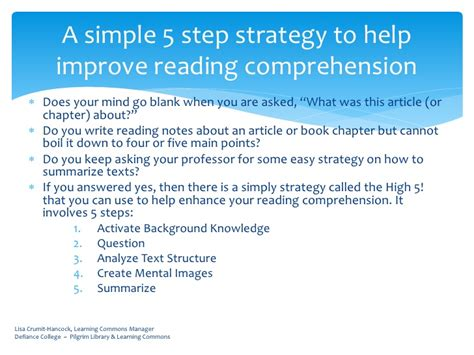 Improving Reading Skill In By Team Of Five high 5 reading comprehension strategies