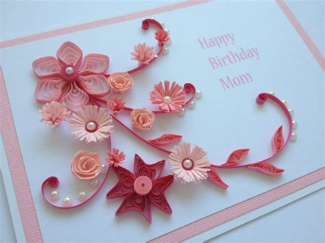 Handmade Flower Cards - items similar to pink handmade quilled paper birthday card