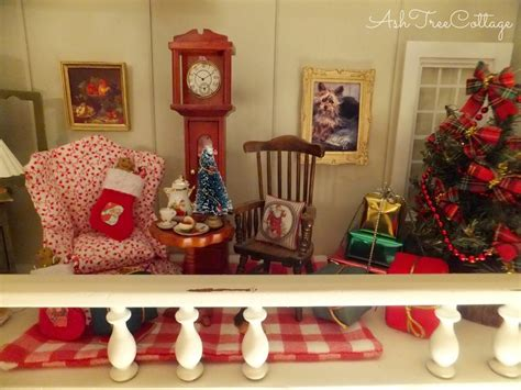 dollhouse decorated for christmas ash tree cottage christmas dollhouse minis