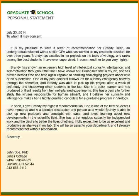 Sle Reference Letter For College Graduate letter of recommendation for graduate school sle