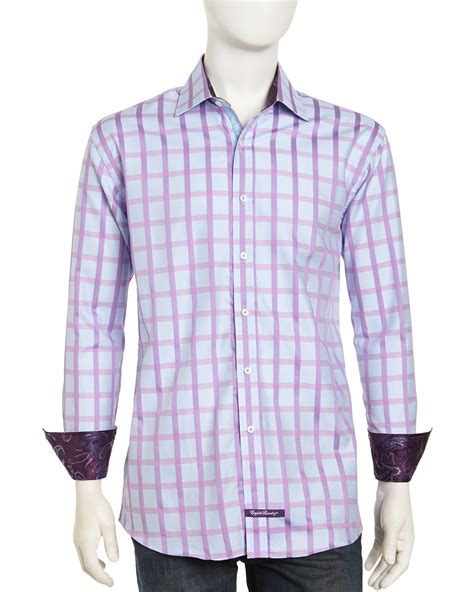 Dress Branded Ond Poplin Plain Purple laundry longsleeve plaid buttonfront poplin dress shirt blue purple in blue for lyst