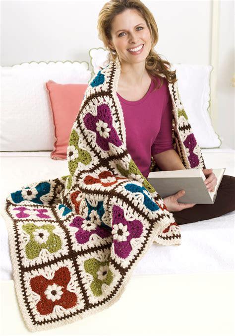Soft Yarn Leaf 9522 flower squares afghan crochet pattern favecrafts