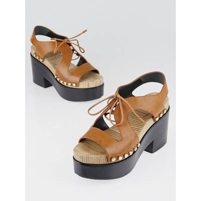 balenciaga brown leather front tie platform clog sandals size 6 5 37 yoogi s closet