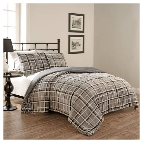 Grey Plaid Bedding by Grey Casimir Plaid Comforter Set 3 Pc Beautyrest 174
