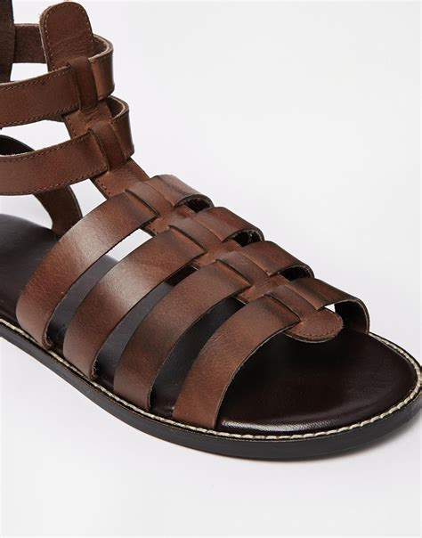 gladiator sandals asos gladiator sandals in leather in brown for lyst
