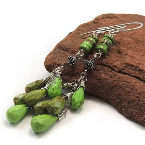 Australian Handmade Jewelry - australian gaspeite sterling silver handmade earrings