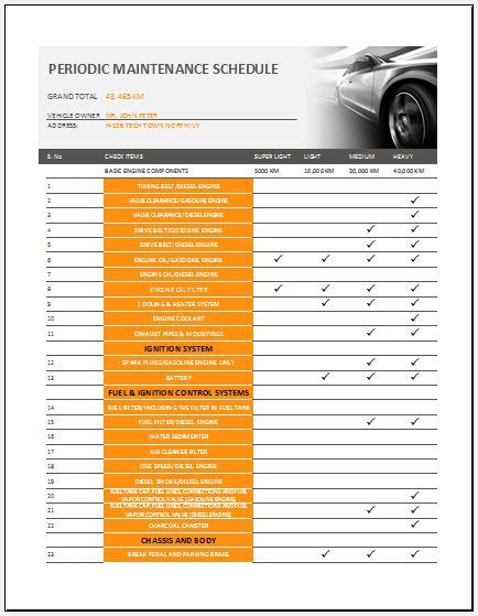 General Vehicle Maintenance Checklist Template Word Excel Templates Periodic Maintenance Schedule Template