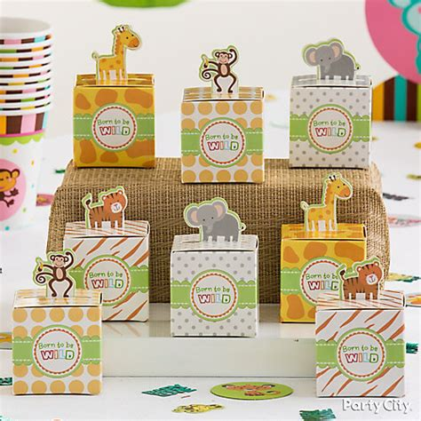 Baby Shower In A Box Ideas by Jungle Animals Favor Box Display Idea City
