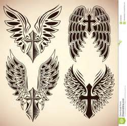 vector set of cross and wings tattoo elements stock