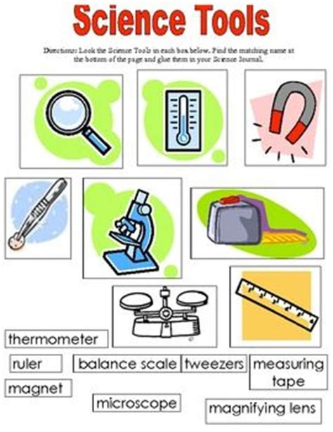 Science Tools Worksheet Kindergarten science tools matching worksheets store taysha bernal