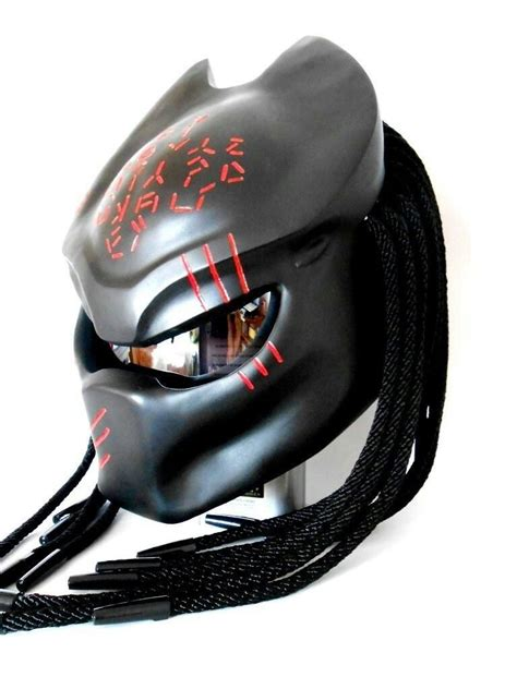motorcycle helmets and predator motorcycle helmet in black with red alien