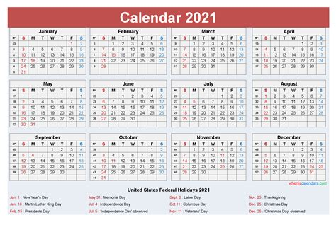 yearly  calendar  holidays word