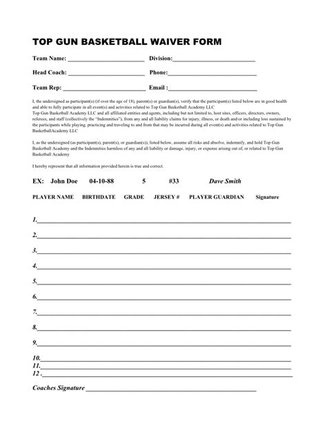 Waiver Forms Top Gun Basketball San Diego Basketball Gold Standardtop Gun Basketball San Youth Sports Waiver Form Template