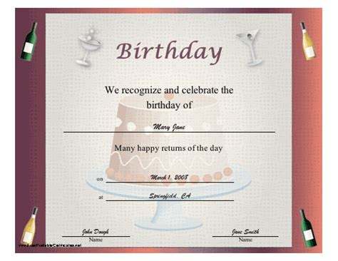printable birthday certificate templates printable birthday certificate templates