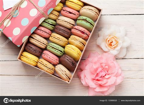 colorful macaroons colorful macaroons in pink box stock photo 169 karandaev