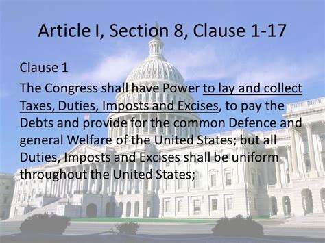 article i section 8 of the united states constitution legislative branch the powers of congress ppt download