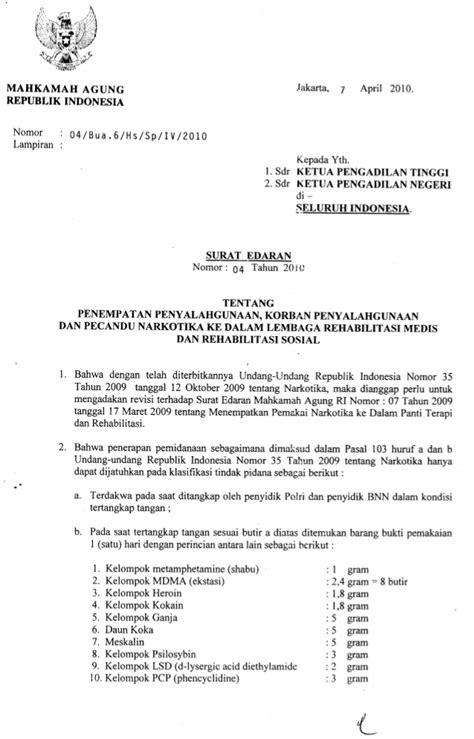 surat edaran mahkamah agung no 4 thn 2010