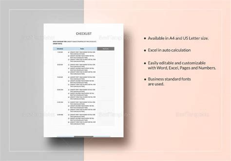 50 Checklist Templates Sle Templates Docs Checklist Template