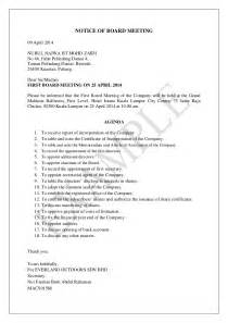 Notice Of Board Meeting Template by Notice Of Board Meeting