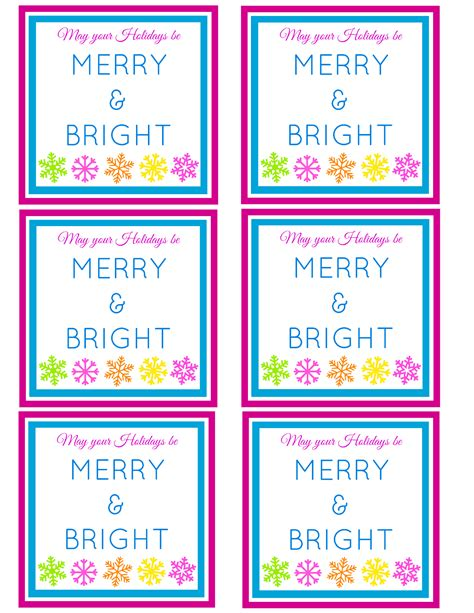 merry bright  printable gift tag
