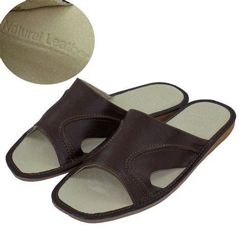 mens slipper sandals mens leather slippers shoes sandals flip flops brown
