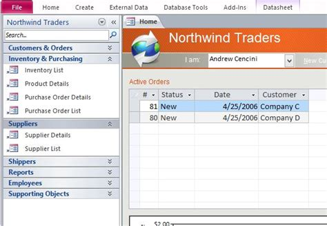 access templates for small business desktop northwind sle access database template