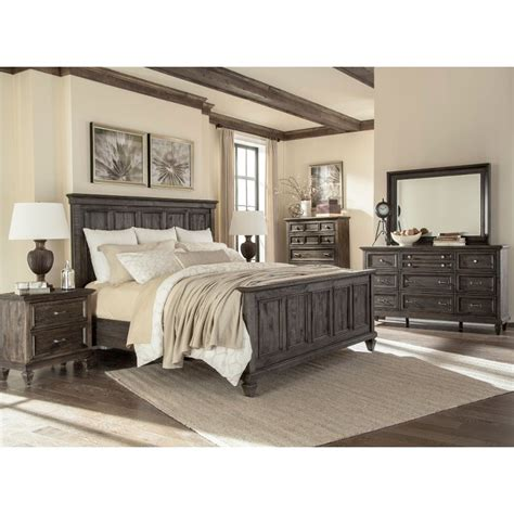 bedroom set king calistoga charcoal 6 piece cal king bedroom set