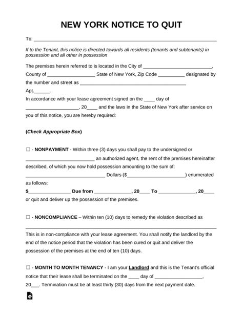 Free New York Eviction Notice Forms Process And Laws Pdf Word Eforms Free Fillable Forms Eviction Notice Template Ny