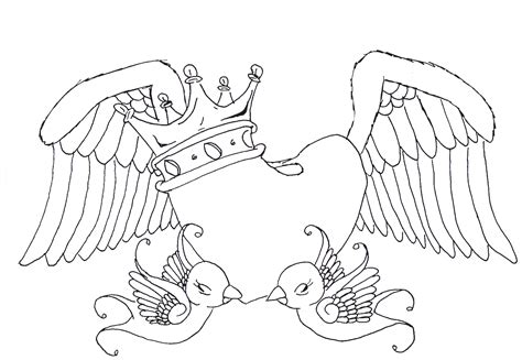 Heart Swallows Wings And Crown By Maouy On Deviantart Hearts With Wings Coloring Pages