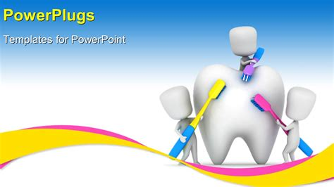 Powerpoint Template Medical Depiction With Kids Brushing Dental Powerpoint Templates