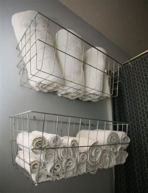 Bathroom Shelving Ideas For Towels use wire baskets for bathroom towel storage genius