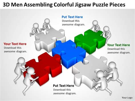 3d Men Assembling Colorful Jigsaw Puzzle Pieces Ppt Graphics Icons Powerpoint Puzzle Pieces Template For Powerpoint