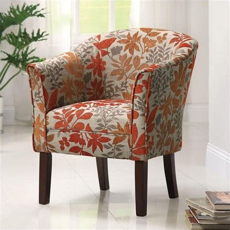 Patterned Club Chair Design Ideas Coaster Barrel Club Chair In Autumn Floral Pattern 460407