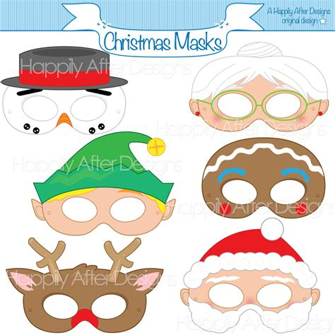 printable christmas masks christmas printable masks santa mask snowman mask rudolph