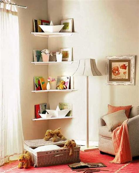 Small Bedroom Storage Shelves Simple Diy Corner Book Shelves Adding Storage Spaces To